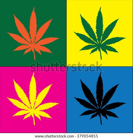 four cannabis leaf illustration in popart - stock vector