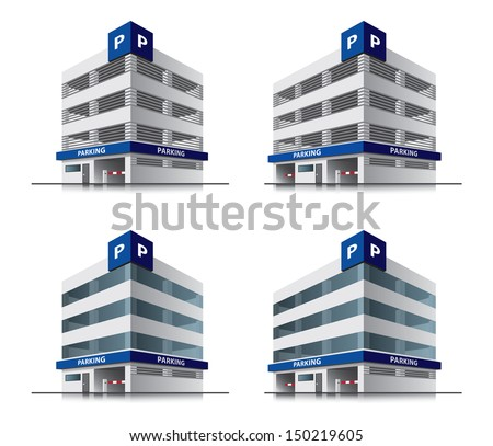 Four car parking vector buildings illustrations in cartoon style - stock vector