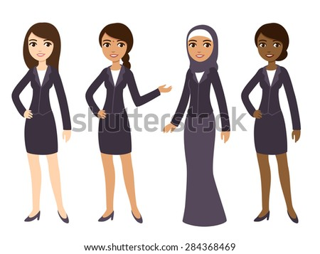 Four cartoon young businesswomen of different ethnicities in formal clothes. Isolated on white background. - stock vector