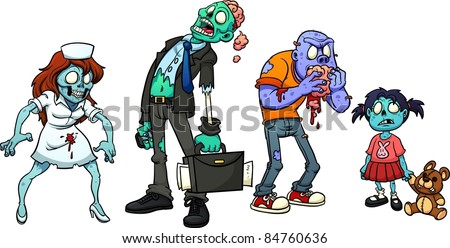 Four cartoon zombies. Vector illustration with simple gradients. Each in  a separate layer for easy editing. - stock vector