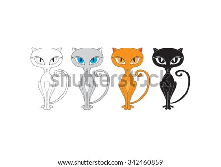 four cats, vector, illustration - stock vector