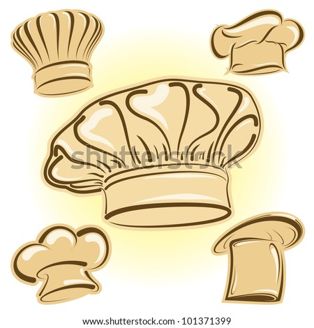 Four chef hats in vector format as icons - stock vector