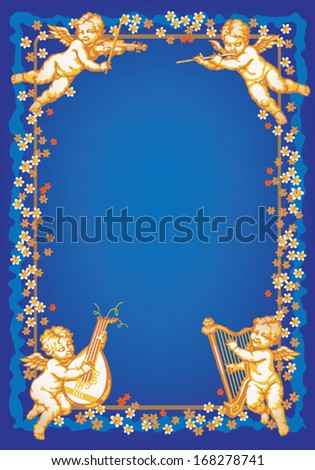 Four cherub playing music. Multicolor vertical vignette