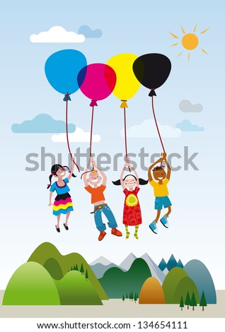 Four children rising into the air subject with colored balloons. - stock vector