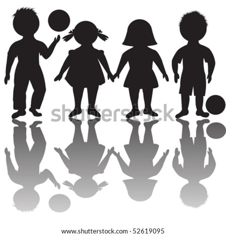 Four children silhouettes with balls - stock vector