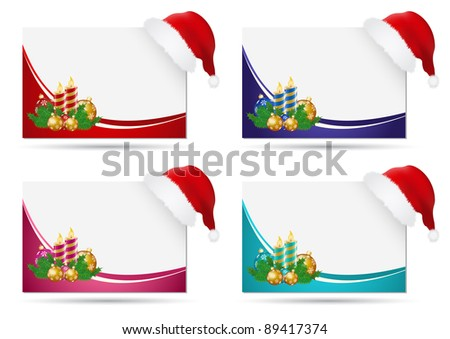 Four christmas cards with santa hat - stock vector