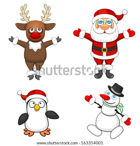 Four Christmas characters - stock vector