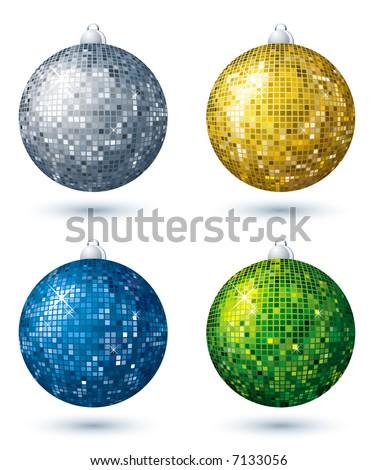four christmas disco  ball over white background, vector - stock vector