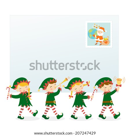 Four Christmas elves carrying letter.  - stock vector