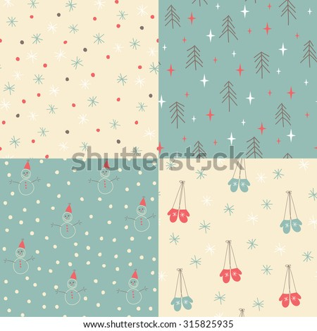 Four christmas vector seamless patterns. Hand drawn mittens, snowman, trees, snowflakes - stock vector