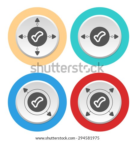 Four circular abstract colored icons with arrows and check box - stock vector