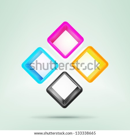 Four cmyk colored case boxes composition as eps10 vector copyspace background