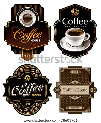Four coffee design templates. Vector banners. All elements are grouped. - stock vector