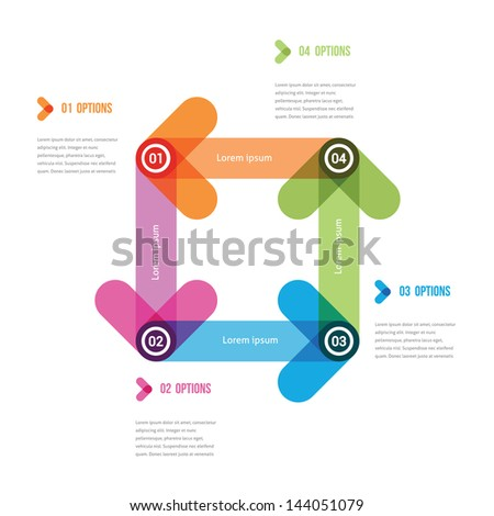 four color arrows following one after another - stock vector