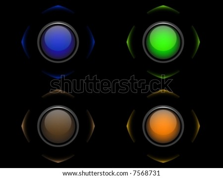 Four color button on black background - vector - stock vector