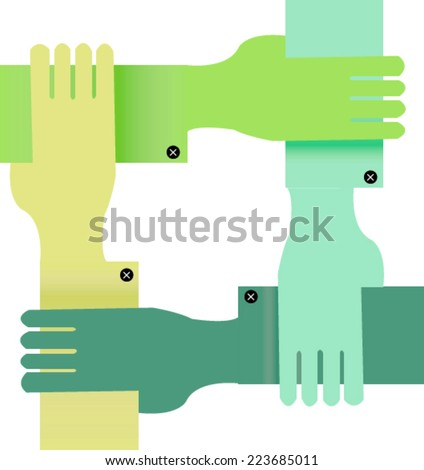Four color hands - stock vector