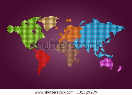 four color map of the world pixel background. vector illustration. dot. table. square. Mosaic. infographics. background for computer graphic website internet and technology. dark purple background. - stock vector