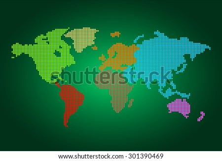 four color map of the world pixel background. vector illustration. dot. table. square. Mosaic. infographics. background for computer graphic website internet and technology. dark green background. - stock vector