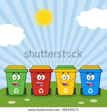 Four Color Recycle Bins Cartoon Character On A Sunny Hill. Vector Illustration Isolated On White Background - stock vector
