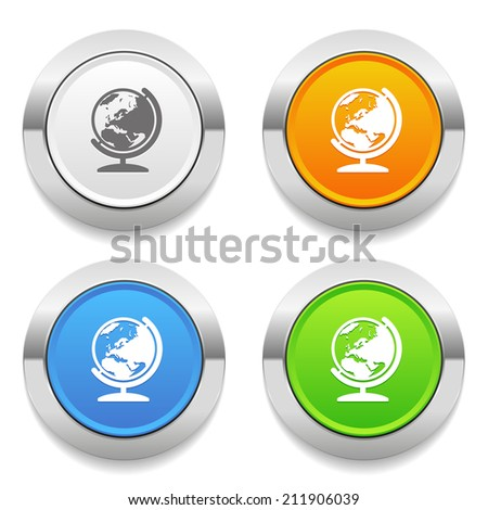 Four color round button with globe icon and metallic border - stock vector
