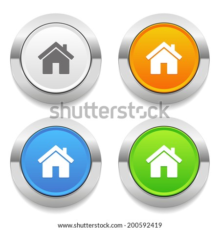 Four color round button with house icon and metallic border - stock vector