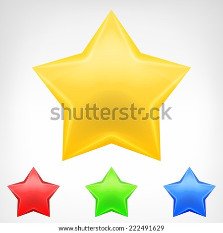 four color star element pack isolated vector illustration