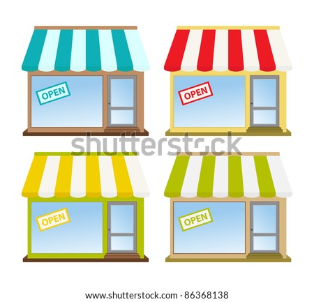 four color store fronts - stock vector