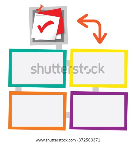 Four colored frames for your text with pushpin and check box - stock vector