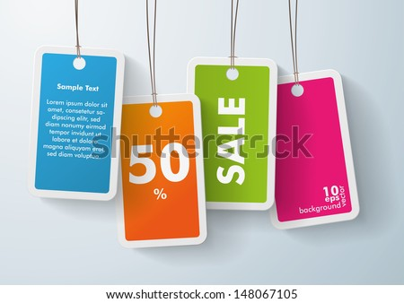 Four colored price stickers on the grey background. Eps 10 vector file. - stock vector
