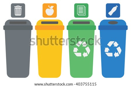 Four colored recycling bins. - stock vector