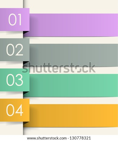 Four colored ribbons with numbers. Cool vector background. EPS10. - stock vector