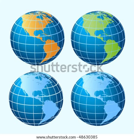 Four colored sphere globes showing America continents