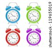 Four colorful alarm clock. Vector - stock vector