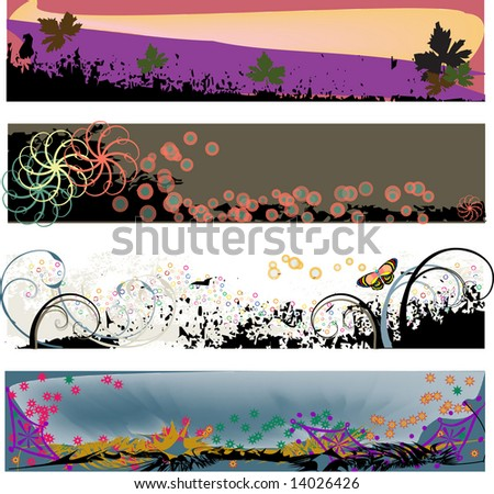 Four colorful banner headers perfect for blogs with a grungy modern look. - stock vector
