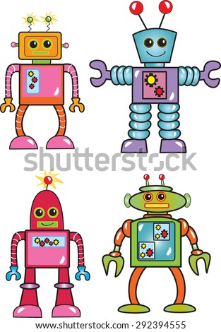 Four colorful cartoon robots