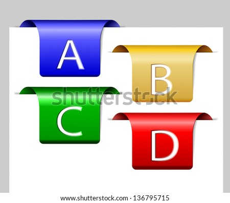 Four colorful dividers with letters from A to D