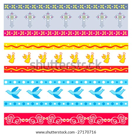 Four colorful Easter decorated patterns with holy symbols and florals - stock vector