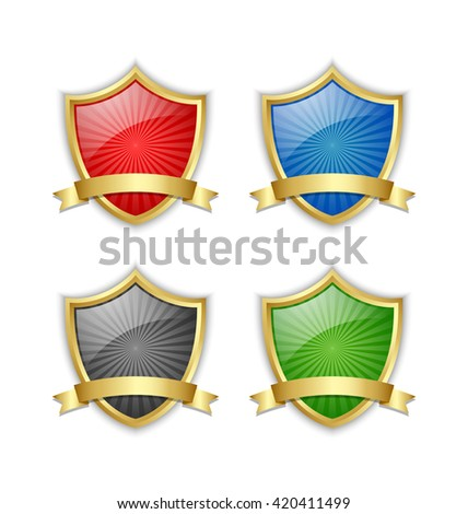 Four colorful glossy golden shields with ribbons on white background