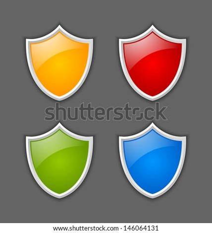Four colorful glossy shields on dark gray background - stock vector