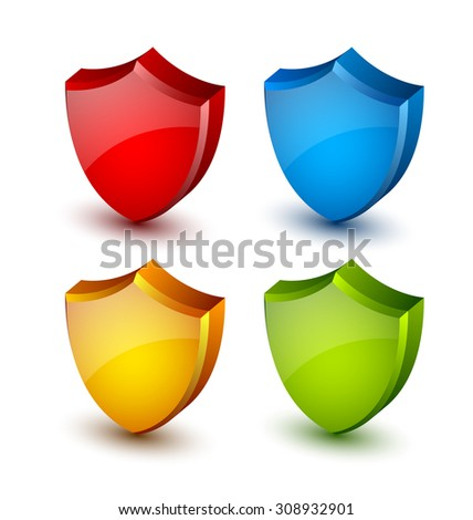 Four colorful glossy shields on white background - stock vector