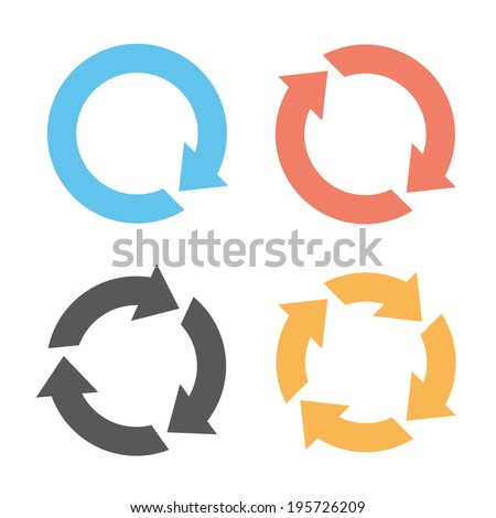 Four colorful reload icons - stock vector