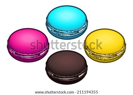 Four colourful macarons.