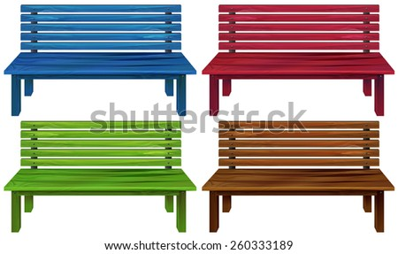 Four colourful wooden chairs on a white background - stock vector