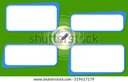 Four connected frames for your text and pencil - stock vector