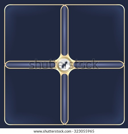 Four connected golden frames for your white text and flash - stock vector