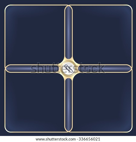 Four connected golden frames for your white text and paper clip - stock vector