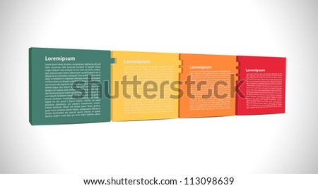 Four connected presentation square - stock vector