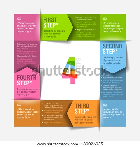 Four consecutive steps cycle - design template. Fully editable vector. Can be used for any design. - stock vector
