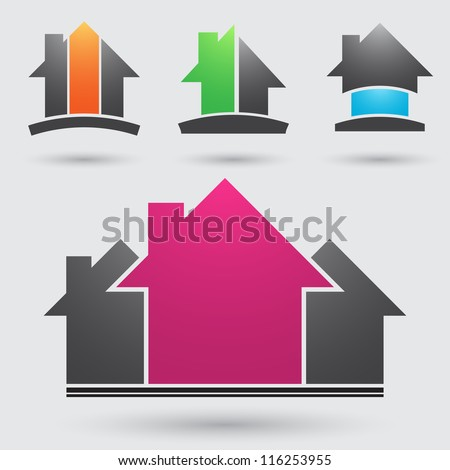 Four construction company symbols different colors - stock vector