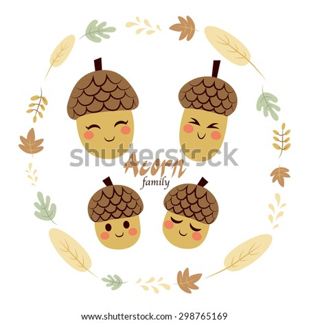 Four cute acorn family characters inside autumn theme leaves frame - stock vector